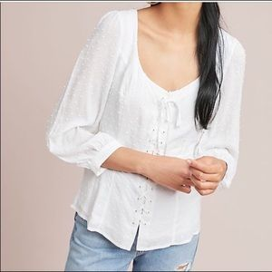 Anthropologie Lisette lace up  blouse